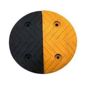 襄辰 波浪型原生橡胶减速带端头(黄+黑),单块250×300×30mm(含安装配件)