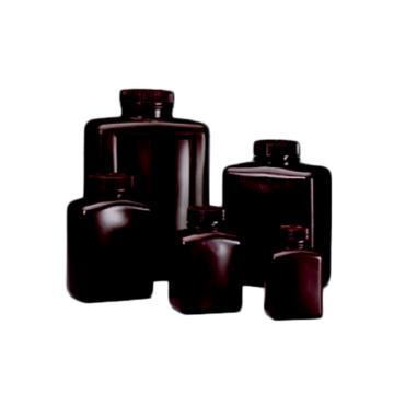 NALGENE琥珀色矩形瓶,琥珀色高密度聚乙烯;琥珀色聚丙烯螺旋盖,125ml容量