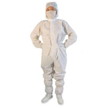 華涌 防靜電連體服,四聯套(連帽子,衣服,褲子,腳套)M碼 白色