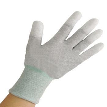 碳纤维防静电PU涂指手套 灰色 M码,50付/包