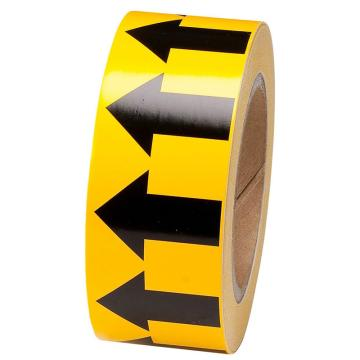 安赛瑞 管道流向箭头带-黄,高性能自粘性材料,50mm宽×27m长,33501