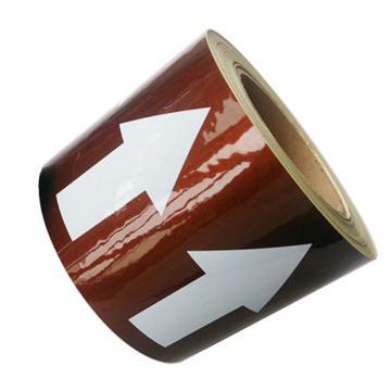 安赛瑞 管道流向箭头带-棕,高性能自粘性材料,100mm宽×27m长,33544