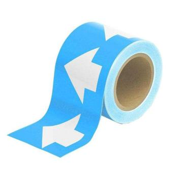 安赛瑞 管道流向箭头带-淡蓝,高性能自粘性材料,100mm宽×27m长,33514