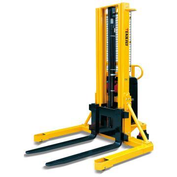 西域推荐 宽支腿型半电动液压堆高车,锻造可调货叉外宽230-790mm,MW1024F