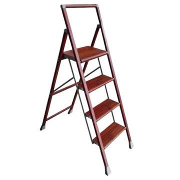 稳耐 铝合金宽踏板家用梯,仿木纹,梯长(米):1.42,梯级数:4,工作高度(米):0.9,额定载荷(KG):100,WJ4-3
