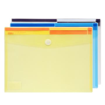 得力(deli) A4纸透明按扣文件袋,档案袋资料袋 5504 透明 单只