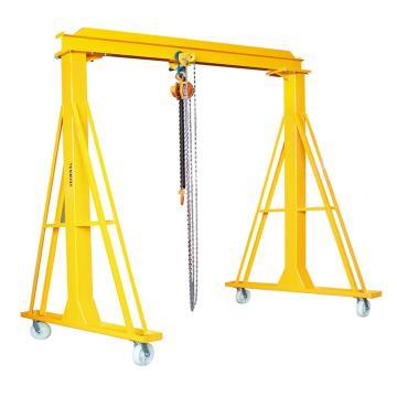 泰得力   可移动龙门架式搬运机(轻型龙门吊),载重(kg):2000,净空高度(mm):3000,立柱宽(mm):3000,净宽(mm):2500,工字梁宽(mm):88