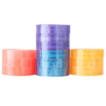 得力(deli) 30024彩色文具胶带 透明胶带 1.2CM 12卷/筒 办公用品