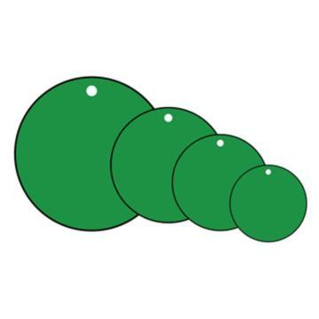 空白塑料吊牌-圆形,Φ25.4mm,绿色,100个/包,14789