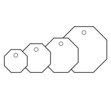 安赛瑞 空白塑料吊牌-八边形,Ф50.8mm,白色,14832,100个/包