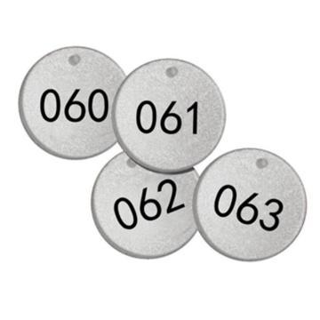 反光塑料号码吊牌-圆形,Φ38.1mm,银底黑字,号码从051到075,25个/包,14777
