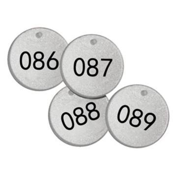 反光塑料号码吊牌-圆形,Φ38.1mm,银底黑字,号码从076到100,25个/包,14778