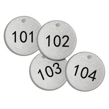 反光塑料号码吊牌-圆形,Φ38.1mm,银底黑字,号码从101到125,25个/包,14779