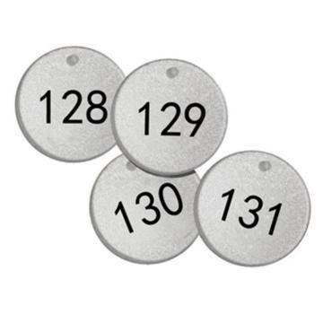 反光塑料号码吊牌-圆形,Φ38.1mm,银底黑字,号码从126到150,25个/包,14780