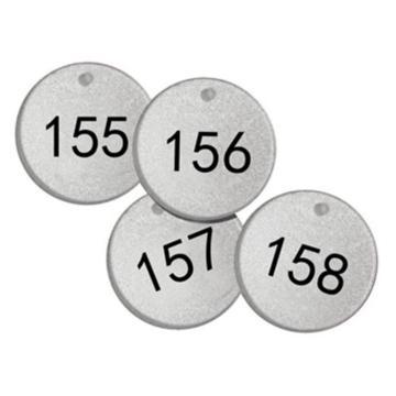 反光塑料号码吊牌-圆形,Φ38.1mm,银底黑字,号码从151到175,25个/包,14781