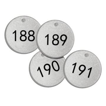 反光塑料号码吊牌-圆形,Φ38.1mm,银底黑字,号码从176到200,25个/包,14782