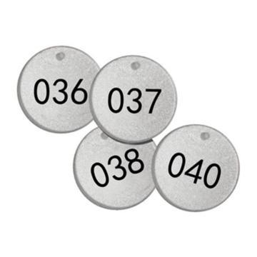 反光塑料号码吊牌-圆形,Φ38.1mm,银底黑字,号码从026到050,25个/包,14783