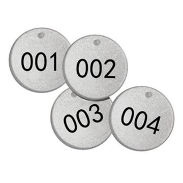 反光塑料号码吊牌-圆形,Φ38.1mm,银底黑字,号码从001到025,25个/包,14784