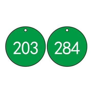 塑料号码吊牌-圆形,Φ29mm,绿底白字,号码从201到300,100个/包,14765
