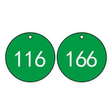 塑料号码吊牌-圆形,Φ29mm,绿底白字,号码从101到200,100个/包,14767