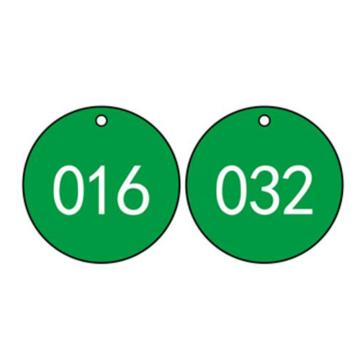 塑料号码吊牌-圆形,Φ29mm,绿底白字,号码从001到100,100个/包,14769