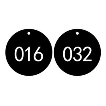 塑料号码吊牌-圆形,Φ29mm,黑底白字,号码从001到100,100个/包,14770
