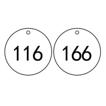 塑料号码吊牌-圆形,Φ29mm,白底黑字,号码从101到200,100个/包,14771