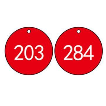塑料号码吊牌-圆形,Φ29mm,红底白字,号码从201到300,100个/包,14772