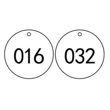 塑料号码吊牌-圆形,Φ29mm,白底黑字,号码从001到100,100个/包,14773