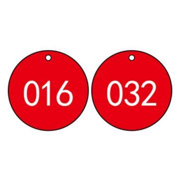 塑料号码吊牌-圆形,Φ29mm,红底白字,号码从001到100,100个/包,14774