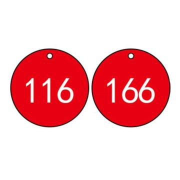 塑料号码吊牌-圆形,Φ29mm,红底白字,号码从101到200,100个/包,14775