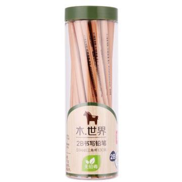 得力(deli)2B/HB铅笔,原木桶装三角六角铅笔 30支/桶 三角2B S944 单位:筒