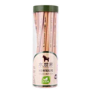 得力(deli)原木铅笔,三角六角铅笔 30支/桶 三角HB S943(售完为止) 单位:筒