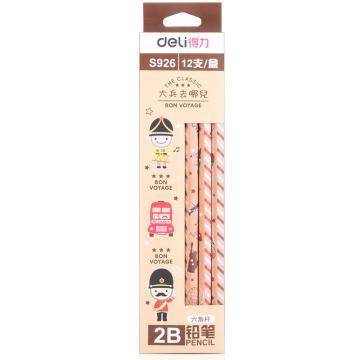 得力(deli) 学生铅笔,HB 2B原木六角儿童卡通书写铅笔 S926 2B 六角杆 单位:盒