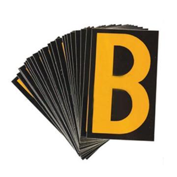 """1"""" 反光数字标识-字高1'',黑底黄字,自粘性反光材料,共50片,包含0-9各5片,34505"""
