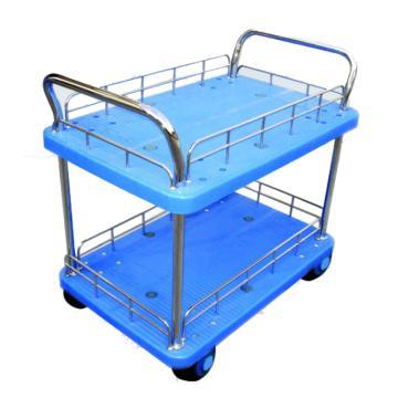 全静音双层双扶手带护栏手推车,轮子类型:静音轮,承重(kg):300KG