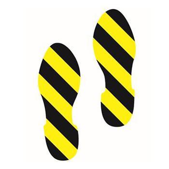 安赛瑞 5S管理地贴-脚印,黄/黑,280×100mm,14425,1对/包