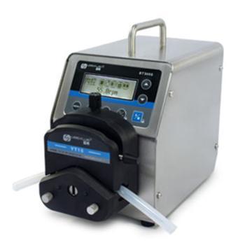 基本调速型蠕动泵,BT300S(不锈钢304机箱)泵头DT15-26,单通道流量(毫升/分钟)0.047~930,通道数量2