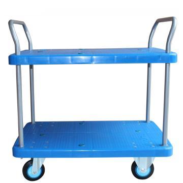 连和 全静轮二层双扶手车板式手推车,铁支架轮 300kg 台面910*600mm,PLA300Y-T2-D