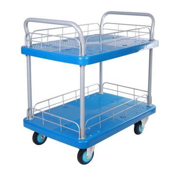 连和 全静轮双层双扶手带护栏手推车,铁支架轮 300KG,PLA300Y-T2-HL2-D