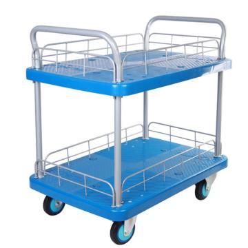 连和 全静轮双层双扶手带护栏手推车,铁支架轮 250KG,PLA250Y-T2-HL2-D