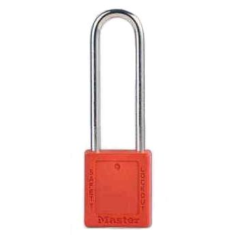 Master Lock 6mm锁钩,锁钩净高76mm,44mm高,红色XENOY工程塑料安全锁,410MCNLTRED