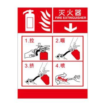 灭火设备使用标识(灭火器)-不干胶,200×260mm,20415