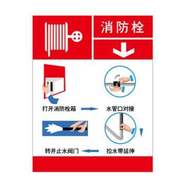 灭火设备使用标识(消防栓)-不干胶,200×260mm,20423