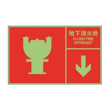 安赛瑞 左右款消防安全标识(地下消火栓),中/英,自发光不干胶,400×250mm,20102