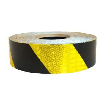 超级晶格反光警示胶带(黄/黑)-超级晶格反光材料,黄/黑,50mm×50m,14357