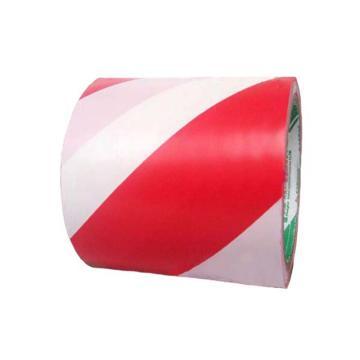 安赛瑞 耐磨型划线胶带(红/白)-高性能自粘性PVC材料,表面覆超强保护膜,红/白,75mm×22m