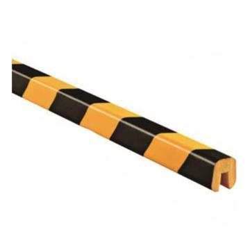 安赛瑞 警示防撞条(E款),耐寒PU材质,黄黑橘皮纹表面,槽型,长1000mm,11414