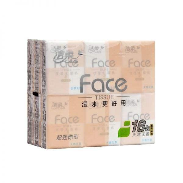 洁柔Face天然无香超迷你型纸手帕4层 18包*36条/箱