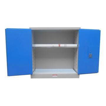 成霖 灰/蓝色毒品柜,双门/手动,30加仑/115升,2块可调层板,3块托盘,尺寸H112*W109*D46cm,CLD10103